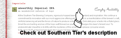Southern Tier Beer Descriptions